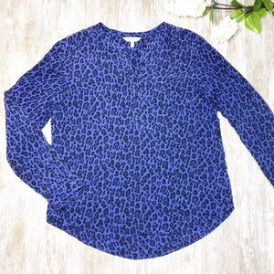 {Rebecca Taylor} 100% Silk Purple Leopard Blouse